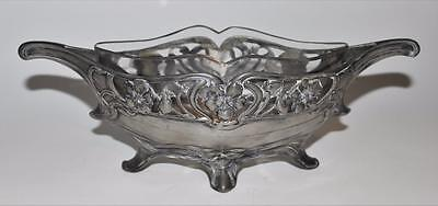 Antique WMF Silverplate Art Nouveau Centerpiece Bowl & Crystal Liner Floral