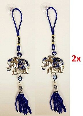 Blue Lucky Elephant Evil Eye Car Wall Hanging Amulet Home Decor Feng Shui NEW