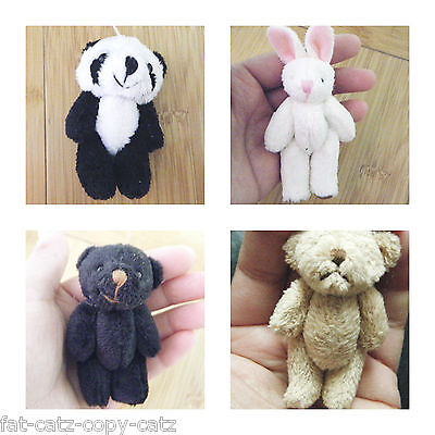 Dolls House Small Tiny Jointed Fur Brown Teddy Bear Panda Rabbit Craft Gift Idea