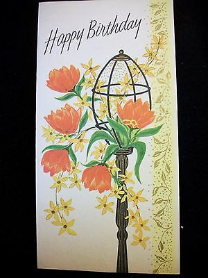 Vtg  Greeting Card BIRTHDAY Lamp Post  FLORAL by PRO ART