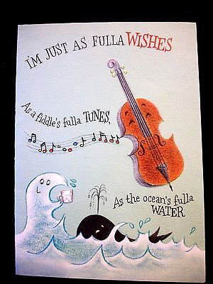 Vtg  Greeting Card GET WELL Fiddle WHALE by HALLMARK  Nautical
