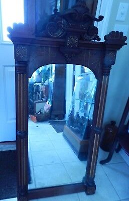 "Victorian Mahogany Carved Mirror With Gold Gilt, 49 1/2"" H"