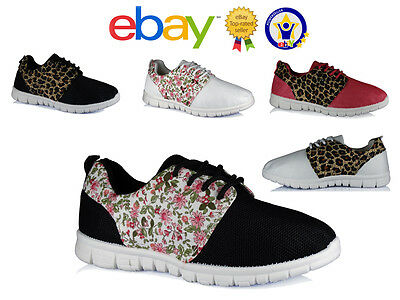 Ladies Trainers Womens Gym Jogging Sports Running Casual Girls Floral Shoes Size