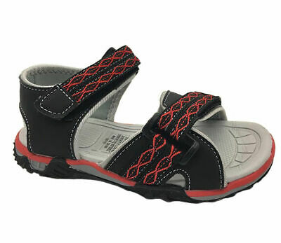 Boys Youth Shoes Grosby Nash Black/Red Size 11-4 Surf Sandals New