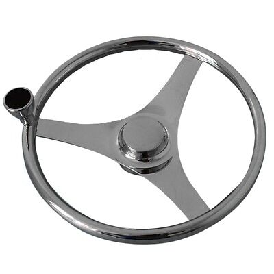 "Ship Stainless Steel Marine Steering Wheel Yacht 13.5"" with hand wheel"