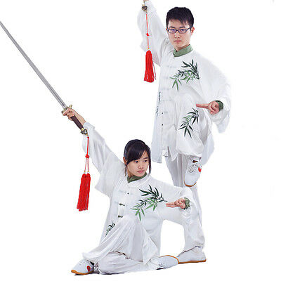 Custom Made Embroidered Bamboo Tai Chi Suit Kung Fu Performance Clothing Uniform
