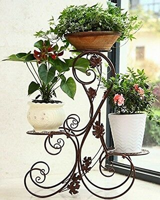 NEW 3 TIER Sturdy Metal Flower Pot Plant Stand Garden Indoor Patio Decor Display