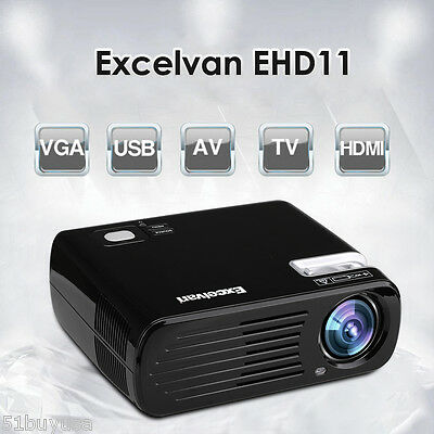 "2600 Lumens LED Projector 200"" HD Home Theater Multimedia USB HDMI VGA AV 2000:1"