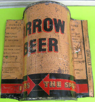ARROW BEER O/I OPENING INSTRUCTIONS cut Flat Top CAN, Baltimore, MARYLAND 1937