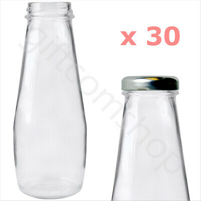 30 X 250ml Glass Mini Milk Bottles Plus Silver Lids Hen Party Wedding Tableware