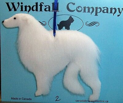 White Borzoi Russian Wolfhound Dog Soft Plush Canine Christmas Ornament # 2