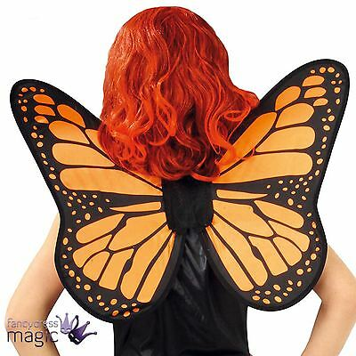 *Ladies Orange Moncarch Butterfly Fairy Angel Insect Fancy Dress Costume Wings*