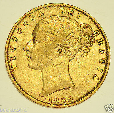Extremely Rare 1860 Shield Sovereign, British Gold Coin From Victoria Fine