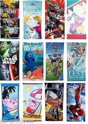 Official Licensed Character Cotton Beach Towel Boys Girls Kids Gift Disney NEW