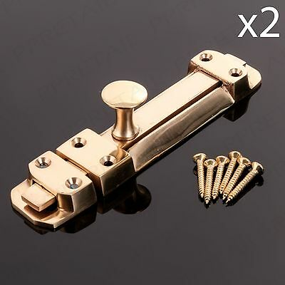 "PACK OF 2 SOLID BRASS 6"" SLIDING DOOR BOLT Security Slide Dead Lock Latch/Catch"