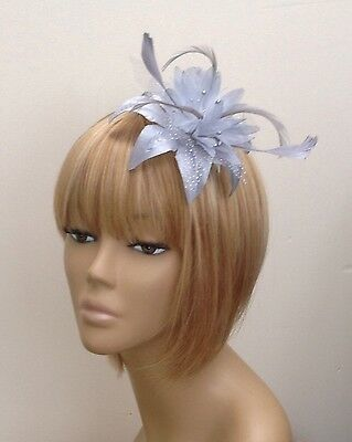 Womens/Girls Silver Grey Hair Flower feather Fascinator Comb Weddings Races Prom