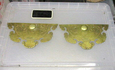 Vintage Brass Drawer Plates Keyhole Cover Escutcheon Handle Pull Etched Floral
