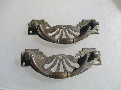 "Antique Brass Drawer Handles Pulls Architectural Hardware Victorian ""COPE"" Old"