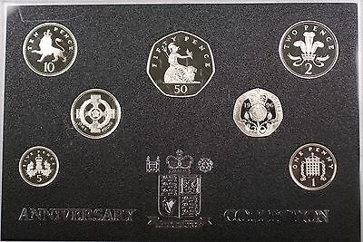 1996 Great Britain 7 Coins Gem Proof Sterling Silver Set Anniversary Collection