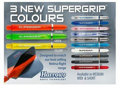 3 Sets Of Harrows Supergrip Dart Stems Shafts - Now In 13 Colours -  3 Sizes
