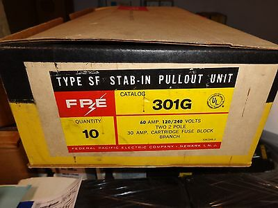 "New In Box Fpe Type ""sf"" 301G Twin 60A, 120/240V 2-Pole Fuse Block"