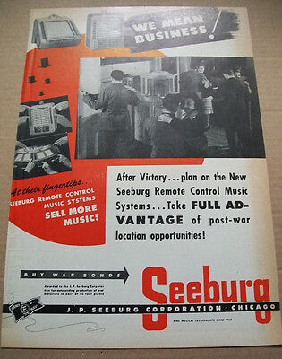 Seeburg remote control music systems phonograph 1944 Ad- we mean business!