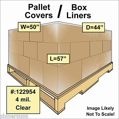 4 mil Pallet Covers / Bin Box Gaylord Liners 50x44x57 Clear Roll/25 122954
