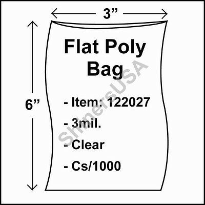 1000 3-Mil 3x6 Clear Poly Bag Open Top Lay Flat Packaging 122027
