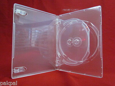 50 14mm Glossy Super Clear Double 2 DVD Case w/Swing Tray