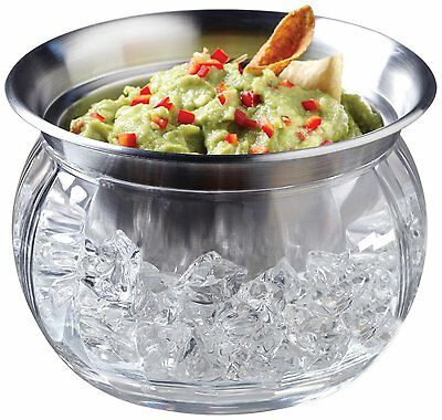 Serving Bowl Dish with Ice Container Includes Stainless Steel Chilled Dip Bowl