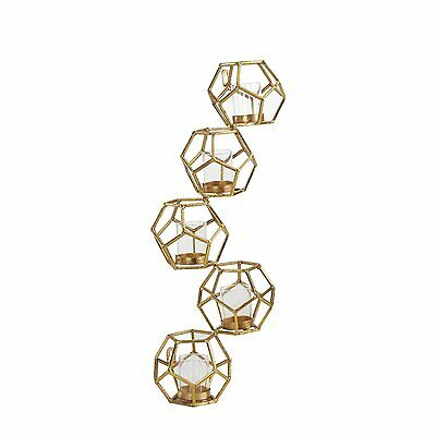 Danya B™ Sparkling Gold Polyhedron Vertical Candle Wall Sconce DS478