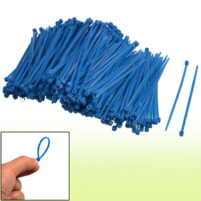 100mm Length Blue Packaging Self-locking Nylon Cable Ties 500 Pcs