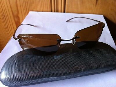 NEW NIKE Linear.Sq.P 210 Glossy Espresso Titanium Frame / Brown POLARIZED Lens