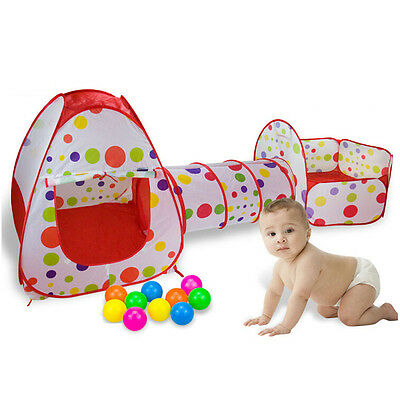 Baby Outdoor Indoor Play Tent Kids Portable Playpen Toddler Creeping Tunnel 3PCs