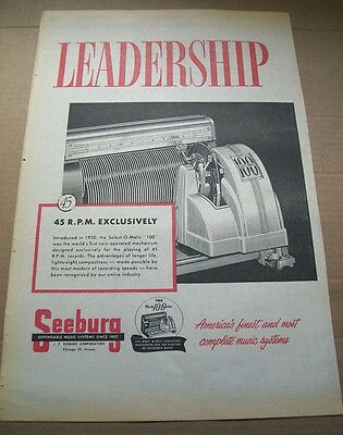 Seeburg 100 Selections Select-o-matic phonograph 1954 Ad- 45 RPM exclusively