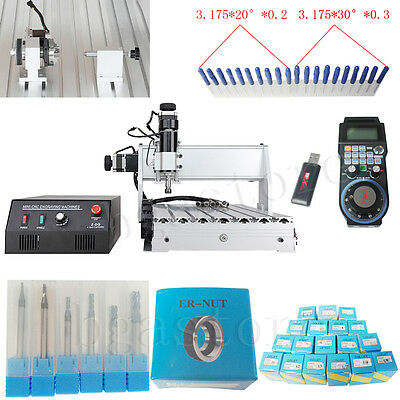 Mini Desktop CNC 3040Z-DQ 500W 4Axis Router  Engraving Machine with remote&bits