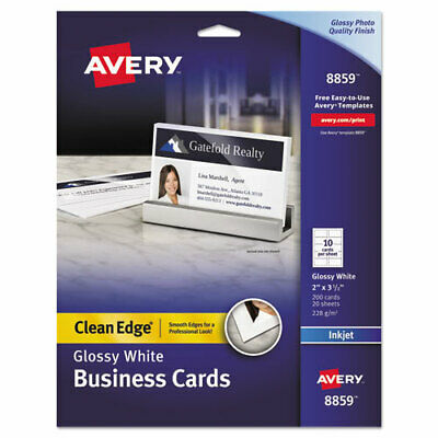 Avery Two-Sided Printable Business Cards, 2 x 3 1/2, Glossy White (AVE8859)