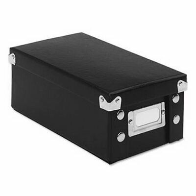Collapsible Index Card File Box Holds 1,100 3 x 5 Cards, Black (IDESNS01573)