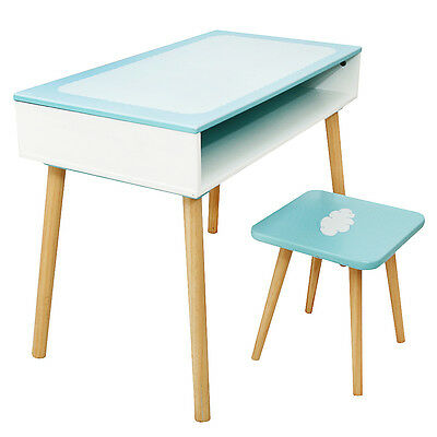 Labebe Ocean Boy Blue Wooden Kids Table & one Chair Stool Set Bench Furniture