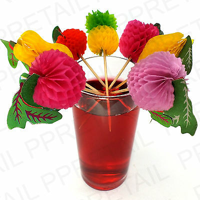 36x COCKTAIL STICK WITH FRUIT SHAPES Drinks  Decorations Wooden Spike Parasols