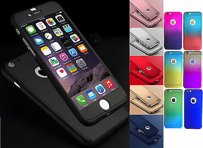 Hybrid 360 Hard Ultra Thin Phone Case Tempered Glass Cover For iPhone & Samsung