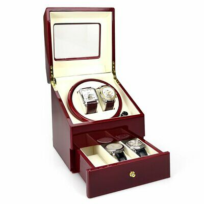 Burgandy KA073 DELUXE DRAW Time Tutelary Dual Watch Winder For 2 Automatic UK