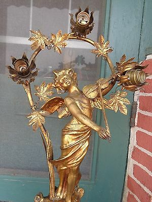 Antique French Victorian Winged Lady Angel Musician Gold Gilt Metal Table Lamp
