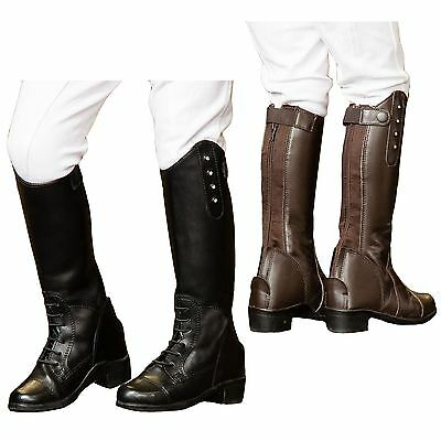 Childrens Kids Equi-Leather Horse Riding Lace Plain Diamante Show Boots All Size