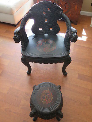 Antique Japanese carved Dragon Arm hardwood throne chair and stool