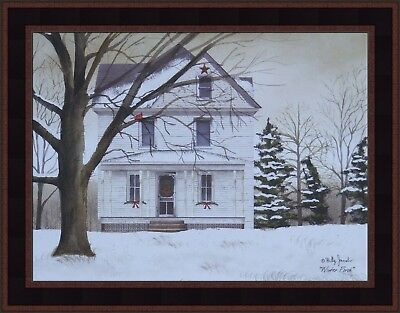 WINTER PORCH by Billy Jacobs 15x19 FRAMED PICTURE Farmhouse House Snow Cardinal