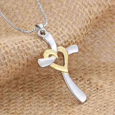Women Silver Jewelry Cross Heart Love Pendant Box Chain Necklace Gifts Fashion