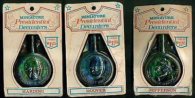 1970's Wheaton Miniature Presidential Decanters in Original Packages - 3 Diff.