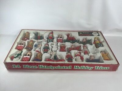 23 VTG Woolworth's Hand Painted Wooden Ornaments Christmas Holiday Trims