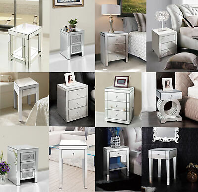 FoxHunter Mirrored Furniture Glass Bedside Cabinet Table With Drawer Bedroom New